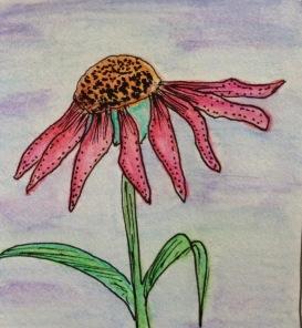 Watercolor pencil flower